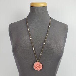 Jewelry - Pink Flower Pendant Long Necklace